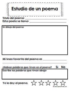 Poemas/poesía para niños en K, 1, 2 y 3 en español.  35+ pages of Poem unit in…