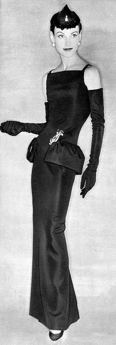 1954 Model in Dior's H-Line sheath, photo by Clifford Coffin, Paris Vogue