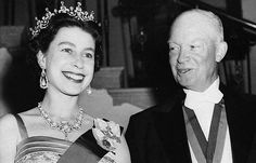 President Dwight D. Eisenhower was the first sitting U.S. President to host Queen Elizabeth. Here she stands with Eisenhower at the White House State banquet he held in her honor on Oct. 20, 1957, in Washington. Eisenhower is wearing the British Order of Merit awarded him by King George VI after World War II.