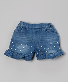 Look what I found on #zulily! Blue Denim Pearl Ruffle Shorts - Toddler by Just Fab Girls #zulilyfinds