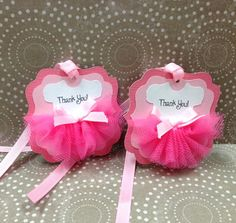 Handmade Tulle Pink Ballerina Thank You Tag for by forLittleSmiles First Birthday Themes, Girl Birthday Cards, Baby Girl Birthday, 1st Birthday Parties, Baby Shower Cake Pops, Baby Shower Niño, Baby Shower Cards, Baby Shower Gifts, Ballerina Party Favors