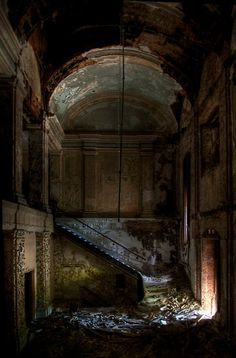 Right down the stairs, and to the left please. Weve a lot of souls passing through tonight and we need to keep them moving. Abandoned Cities, Abandoned Mansions, Abandoned Houses, Old Houses, Beautiful Ruins, Beautiful Places, Gothic Architecture, Haunted Places, Old Buildings