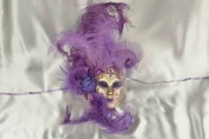 Purple and Gold Venetian Masquerade Wall Decor Mask - Volto Fiore