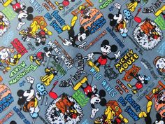 1 Yard Cotton Fabric - Mickey Mouse,Disney, Wild Waves,The Moose Hunt - Gray.