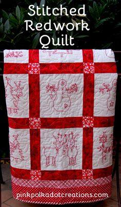 Stitched Redwork Quilt