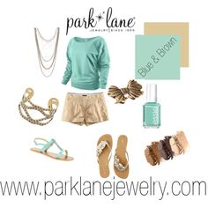 Teal & Brown, created by parklanejewelry on Polyvore  Park Lane Jewelry featured: Trendsetter necklace, A La Mode bracelet & Vintage ring