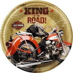 """These bold Harley Davidson theme dinner plates feature the H-D logo, read """"The King of the Road!"""", and measure 8.75"""" across.  Dinner plates perfectly match the rest of your Harley decorations, and are great for sandwiches, salads, and other light meals.  Sold in quantities of 8 per package."""