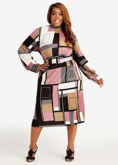 Satin Midi Dress, Long Sleeve Midi Dress, Colorblock Dress, Peplum Dress, Plus Size Sweater Dress, Plus Size Sweaters, Plus Size Belts, Curvy Fashion, Fit And Flare