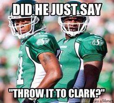 Throw it to Clark Best Football Team, Football Football, Go Rider, Saskatchewan Roughriders, Saskatchewan Canada, Football Helmets, Champion, Funny Pictures, Pride
