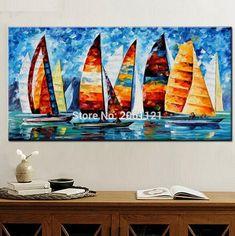Colorful Sail Boat paintinga   Popular Sailboat Oil Painting-Buy Cheap Sailboat Oil ...