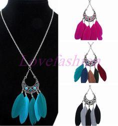 Fashion Women Retro Bronze Blue Feather Moon Tassels Pendant Chain Long Necklace #newfeeling #Charm