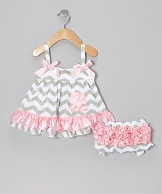 Take a look at this Pink & Gray Zigzag Swing Top & Bloomers - Infant by Tutus by Tutu AND Lulu on #zulily today!