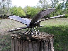 Dragonfly Metal Sculpture Yard Art Garden Art Welded Metal Art. $41.95, via Etsy.