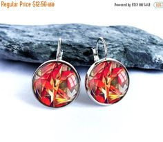 ON SALE Red fox dangle earrings, silver picture glass dome drop earrings, Franz Marc image cabochon earrings, photo jewelry gift for art lov