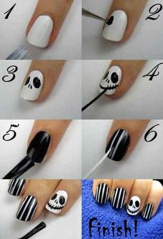 #Halloween nails #jackskellington #nightmarebeforechristmas #halloweennails #DIYnails (ΓΙΑ ΤΟ ΧΡΙΣΤΙΝΑΚΙ)