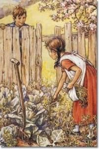 "A Job for Jenny from ""Groundsel and Necklaces"" -- illustration by Cicely Mary Barker (English, Art And Illustration, Magazine Illustration, Book Illustrations, Cicely Mary Barker, Vintage Children's Books, Vintage Art, Vintage Paintings, Image Jesus, Art Magique"