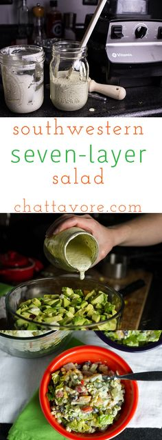Southwestern seven-layer salad takes the concept of a traditional seven-layer salad and jazzes it up with Southwestern flavors!   chattavore.com