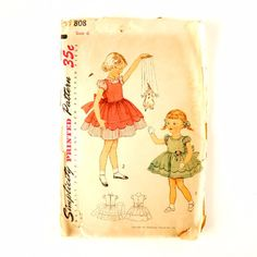 Vintage Simplicity Pattern 3808 Child's One-Piece Dress Mother Daughter Fashion, Size 6 (c.1950s)