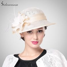 Brand Fashion Spring Summer Autumn Womens Brown rIvory Yellow Color Sinamay Hat With Flower SW201007 Isn`t it awesome? #shop #beauty #Woman's fashion #Products #Hat