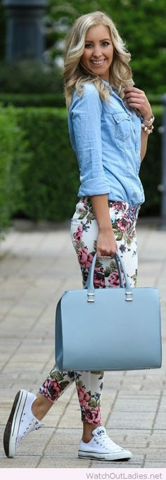 Denim shirt, floral pants and light blue bag