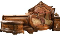 in Prescott green color.Cortina Sleigh Bed by Michael Amini, Queen Dark Wood Bedroom Furniture, Bedroom Furniture Design, Wood Canopy Bed, Art Deco Fireplace, Sleigh Beds, Kid Beds, Bed Design, Furniture Makeover, Living Room Designs