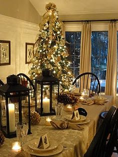 beautiful Thanksgiving, winter or Christmas tablescape Merry Little Christmas, Christmas Love, Country Christmas, Beautiful Christmas, Winter Christmas, Celebrating Christmas, Elegant Christmas, Christmas Trees, Christmas Table Settings