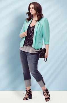 Nordstrom Outfit - City Chic Blazer & Top, KUT from the Kloth Boyfriend Jeans