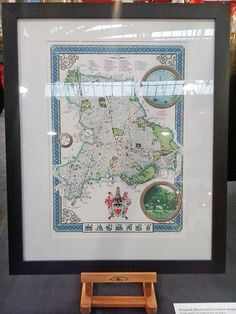 Framed Hackney map print on display at the We Make London Market, Old Spitalfields, London E1 on 10th November 2012