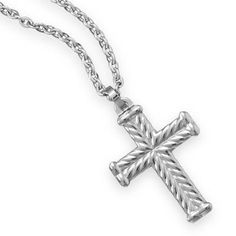 This brand new men's 22 inch necklace has a 316L stainless steel flattened cable chain design with a lobster clasp closure and it features a rope style tungsten carbide cross pendant measuring approximately 25 millimeters by 43 millimeters. Handsome and durable, this necklace will last a man a li...