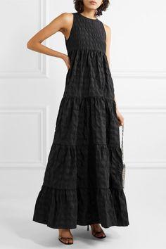 Black seersucker Slips on polyamide, polyester Machine wash Imported Baggy Dresses, Black Dress Outfits, Seersucker Dress, Tiered Dress, Dress Patterns, Summer Dresses, Summer Outfit, Simple Black Dress, Net A Porter