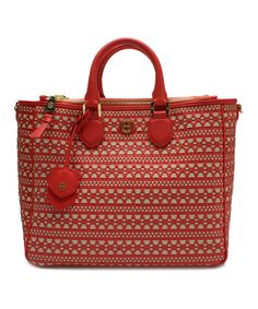 Look at this #zulilyfind! Poppy Coral & Dulce de Leche Woven Robinson Leather Tote #zulilyfinds