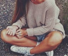 Cozy sweater with shorts for summer evenings