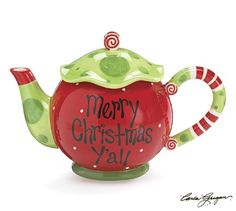 """""""Merry Christmas Y'all"""" teapot"""