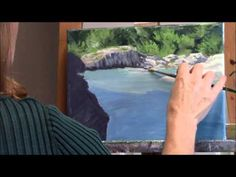 "▶ ""Shady River"" Part 1 - White Water River and Cliffs Acrylic Landscape Painting Demo - YouTube"