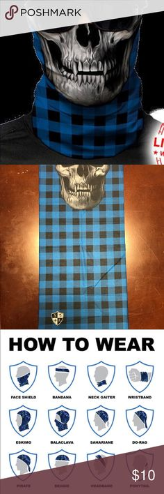 Salt Armour Blue Plaid Skull Face Shield Sun Mask SA Co. Face Shield™ tubular bandanas offer style and sun protection without weighing you down. PRODUCT SPECIFICATIONS: Soft, Breathable 100% Polyester Microfiber 100% Seamless 10+ Ways to Wear Repels Moisture SPF40 Stain Resistant Odor Control Protects Against Wind Helps Maintain Hydration Quick-Drying 2-Way Lateral Stretch Product Dimensions: (approx.) 10.5 x 20.5 inches Weight: 1.3 ounces One Size Fits All Adults Machine Washable Air Dry Do…