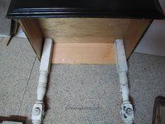 Repurposed Drawer side Table- spindle legs