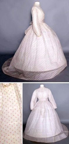 Day dress ca. 1860s. Printed dimity. One piece, white, windowpane-woven with small red flower print, self-fabric belt, trained skirt. Augusta Auctions