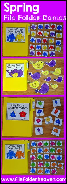 Learning Center This spring themed file folder games bundle bundle focuses on basic sorting and matching skills. It includes 13 complete file folder games. Preschool Centers, Preschool Kindergarten, Preschool Learning, Learning Centers, Classroom Activities, Preschool Activities, Preschool Special Education, Preschool Printables, Teaching