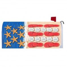 Patriotic Beach Magnetic Mailbox Cover Security Mailbox, Magnetic Mailbox Covers, July 4th, Memorial Day, Magnets, Kids Rugs, Holiday Decor, Prints, Garden