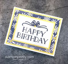 Create a simple birthday card using Stampin' Up! Big on Birthdays and Delightful Daisy Designer Series Paper - Mary Fish StampinUp