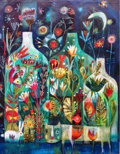 An size print of an Este MacLeod Painting. A little bit mysterious, a little bit magical. find the hidden animals, look closely. Illustrations, Illustration Art, Guache, Fantasy Paintings, Arte Floral, Whimsical Art, Art Plastique, Painting Inspiration, Flower Art