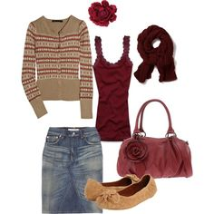 camel and burgandy fall skirt outfit (though I'd add some opaque tights)