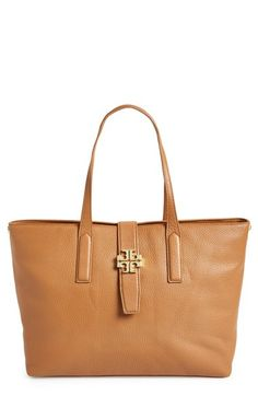 Tory Burch 'Plaque' Leather Tote | Nordstrom Direct Link Below  http://shop.nordstrom.com/s/tory-burch-plaque-leather-tote/3726966?origin=category-personalizedsort&contextualcategoryid=0&fashionColor=Bark&resultback=1000&cm_sp=personalizedsort-_-browseresults-_-1_3_A