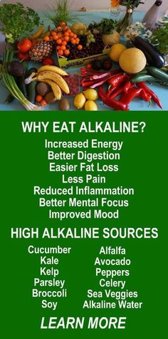 WHY EAT ALKALINE & HIGH ALKALINE SOURCES: Increased energy, better digestion, easier fat loss, less pain, reduced inflammation, better mental focus, improved mood. Top sources are cucumber, kale, kelp, parsley, broccoli, soy, alfalfa, avocado, peppers, celery, sea veggies, alkaline water. Learn more about the benefits of alkalinity and start living your healthiest life today! #Alkaline #Foods #Water #Health #Benefits