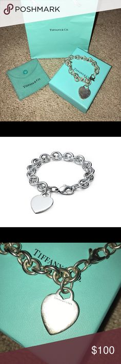 Tiffany & Co. Heart Bracelet Silver, Tiffany & Co. heart bracelet in all its original packaging. Makes a great gift for the holidays! Tiffany & Co. Jewelry Bracelets