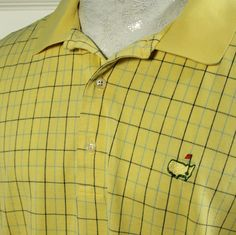 Masters Collection Augusta Mens L Plaid Golf Polo Shirt 2 Ply Mercerized Cotton #MastersCollection #PoloRugby