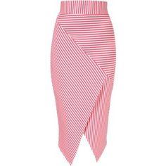 Jane Norman Asymmetric stripe pencil skirt