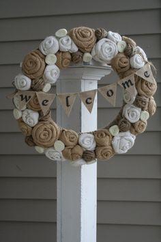 Jute Yarn Wreath/Welcome Banner/Everyday/Burlap Flowers/Roses/Felt Rosettes