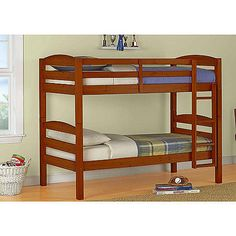 Mainstays Twin over Twin Wood Bunk Bed, Multiple Finishes. Can convert to two twin beds. $159