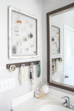 Jewelry organizers keep things neat (and double as accents). #decorideas #renovation